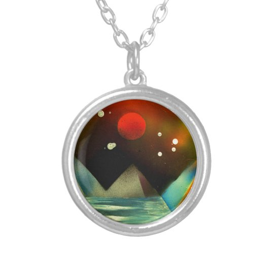 Pyramids by the river silver plated necklace