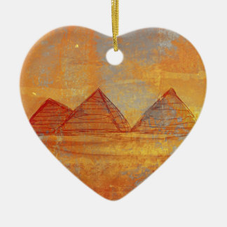 Pyramids Giza Decoration Ceramic Heart Decoration