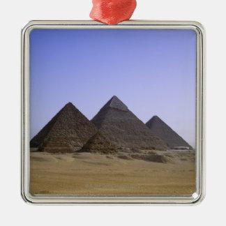 Pyramids in desert Cairo, Egypt Silver-Colored Square Decoration