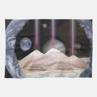 Pyramids Planets Space Tea Towel