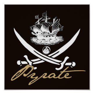 Pyrate Insignia with Ship Poster