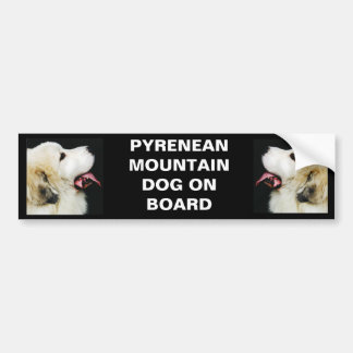PYRENEAN MOUNTAIN DOG ON BOARD BUMPER STICKER