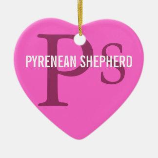 Pyrenean Shepherd Breed Monogram Ceramic Heart Decoration