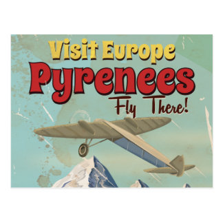 Pyrenees Mountains, Europe vintage Travel poster Postcard
