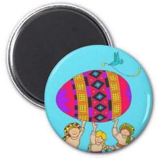 Pysanka Girls 6 Cm Round Magnet