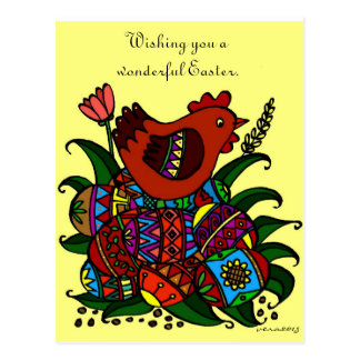 Pysanky and Hen Ukrainian Folk Art Postcards