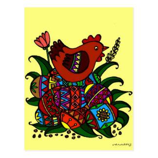 Pysanky and Hen Ukrainian Folk Art Postcard