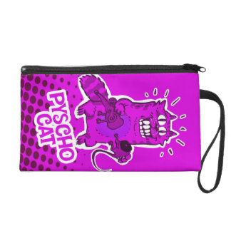 pyscho cat and unfortunate mouse funny cartoon wristlet clutch