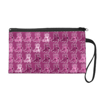 pyscho cat and unfortunate mouse funny cartoon wristlet purses