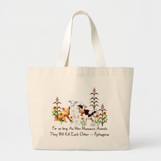 Pythagoras Vegetarian quote Large Tote Bag