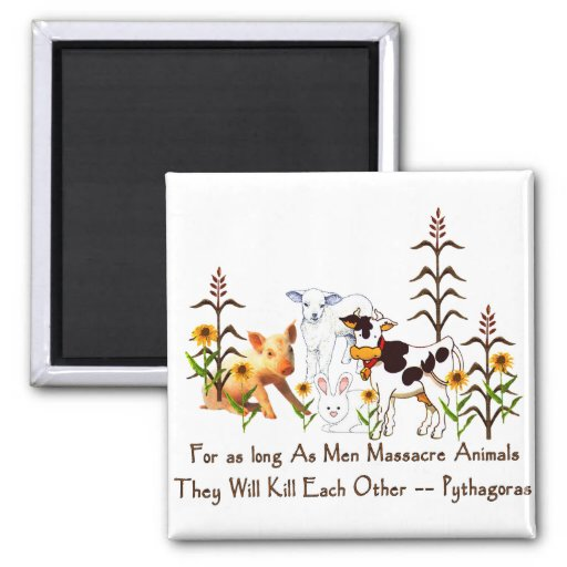 Pythagoras Vegetarian quote Fridge Magnets