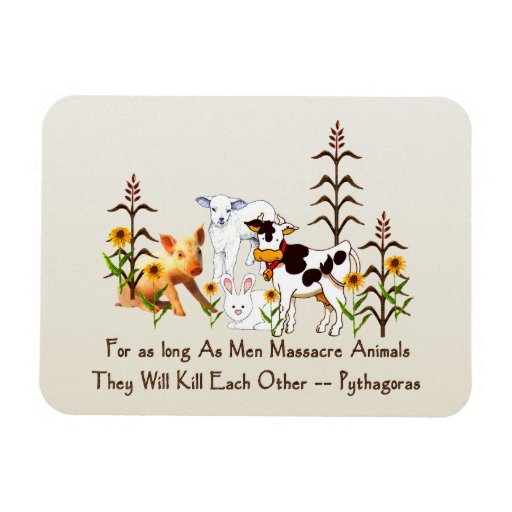 Pythagoras Vegetarian quote Rectangle Magnet