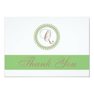 Q Dot Circle Monogam Thank You Cards (Brown/Mint) 9 Cm X 13 Cm Invitation Card