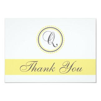 Q Dot Circle Monogam Thank You Cards (Yellow/Gray) Custom Invites