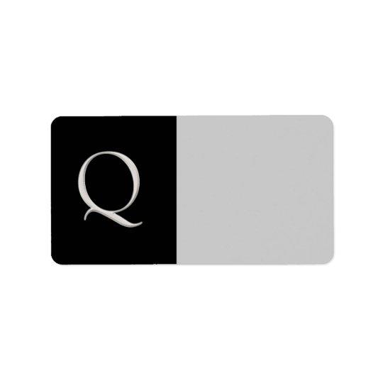 """""""Q"""" Initial Custom Label"""