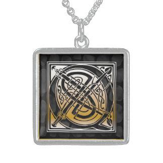 """Q Initial Monogram """"Celtic Black Stone"""" Necklaces Custom Necklace"""