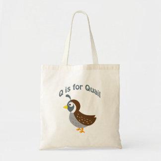 Q is for Quail Tote Bag