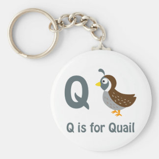 Q is for Quail Basic Round Button Key Ring