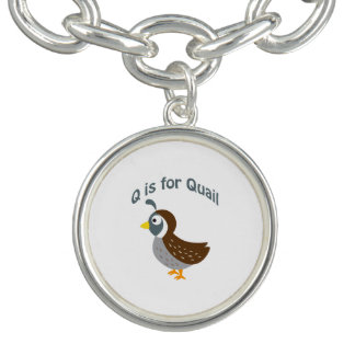 Q is for Quail Charm Bracelet