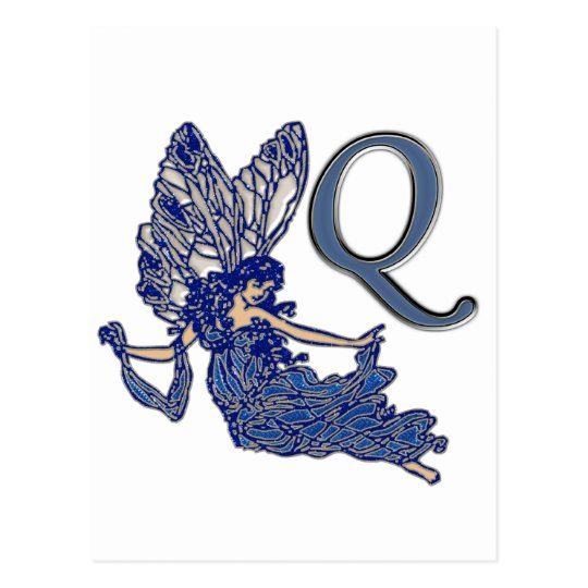 Q Monogram Angel Postcard