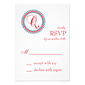 Q Monogram Dot Circle RSVP Cards Red Blue
