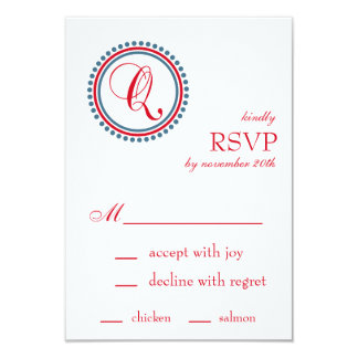 "Q Monogram Dot Circle RSVP Cards (Red / Blue) 3.5"" X 5"" Invitation Card"