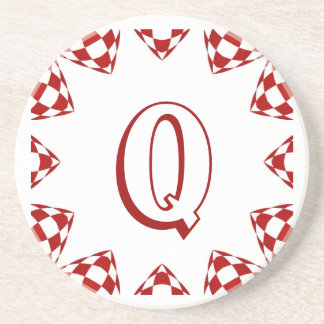 Q red white check monogram on white beverage coaster