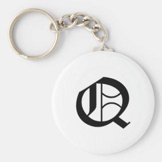 Q-text Old English Key Ring