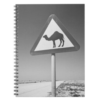 Qatar, Al Zubarah. Camel Crossing Sign-Road to Notebook