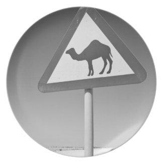 Qatar, Al Zubarah. Camel Crossing Sign-Road to Plate