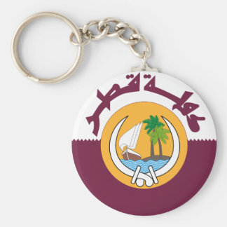 qatar coat of arms basic round button key ring