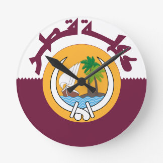 Qatar Coat Of Arms Round Clock