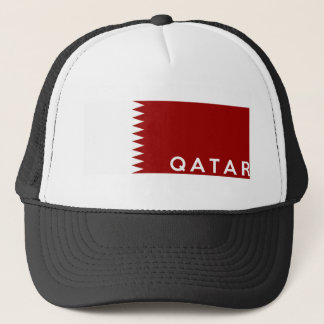 qatar country flag text name trucker hat