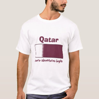 Qatar Flag + Map + Text T-Shirt