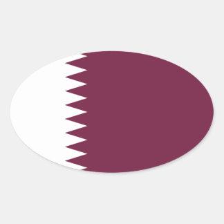 Qatar Flag Oval Sticker