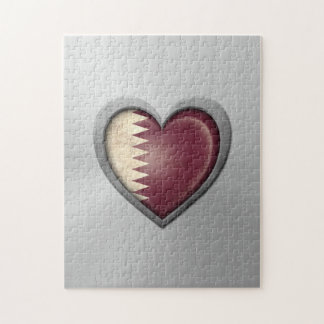 Qatar Heart Flag Stainless Steel Effect Puzzle