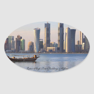 Qatar High Rise Buildings Offices - Oval Sticker