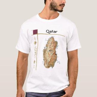 Qatar Map + Flag + Title T-Shirt