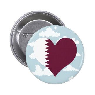 Qatari Flag on a cloudy background 2 Inch Round Button