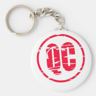 QC Quality Control red rubber stamp effect Basic Round Button Key Ring