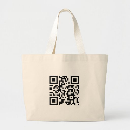 "QR Barcode ""Make someone smile today!"" Canvas Bags"