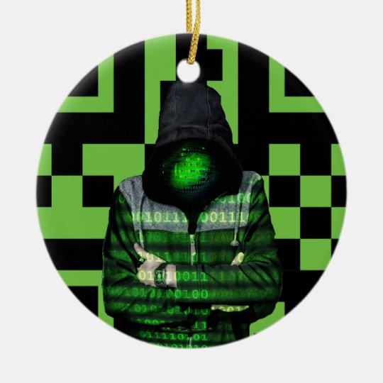 QR Binary Christmas Ornament