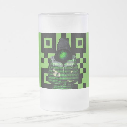 QR Binary Frosted Glass Beer Mug