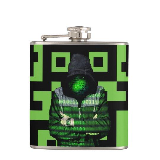 QR Binary Hip Flask
