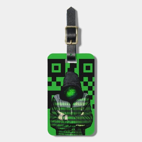 QR Binary Luggage Tag