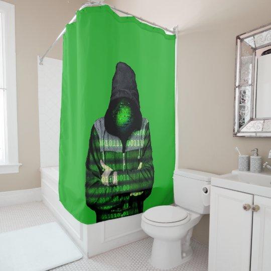 QR Binary Shower Curtain
