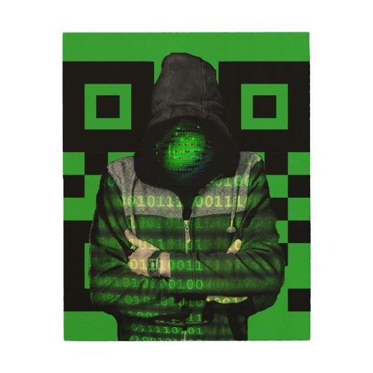QR Binary Wood Print
