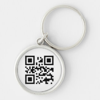 QR-code for love Silver-Colored Round Key Ring