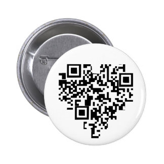 QR Code Heart 6 Cm Round Badge