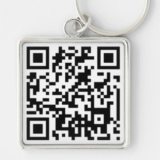 QR CODE Silver-Colored SQUARE KEY RING
